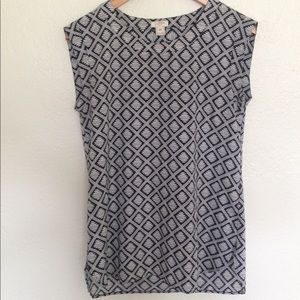 J. Crew Black and White Patterned Top